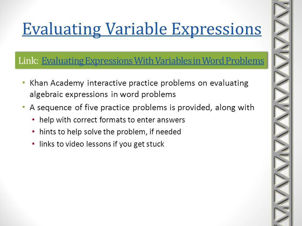 Link: Evaluating Expressions With Variables in Word Problems