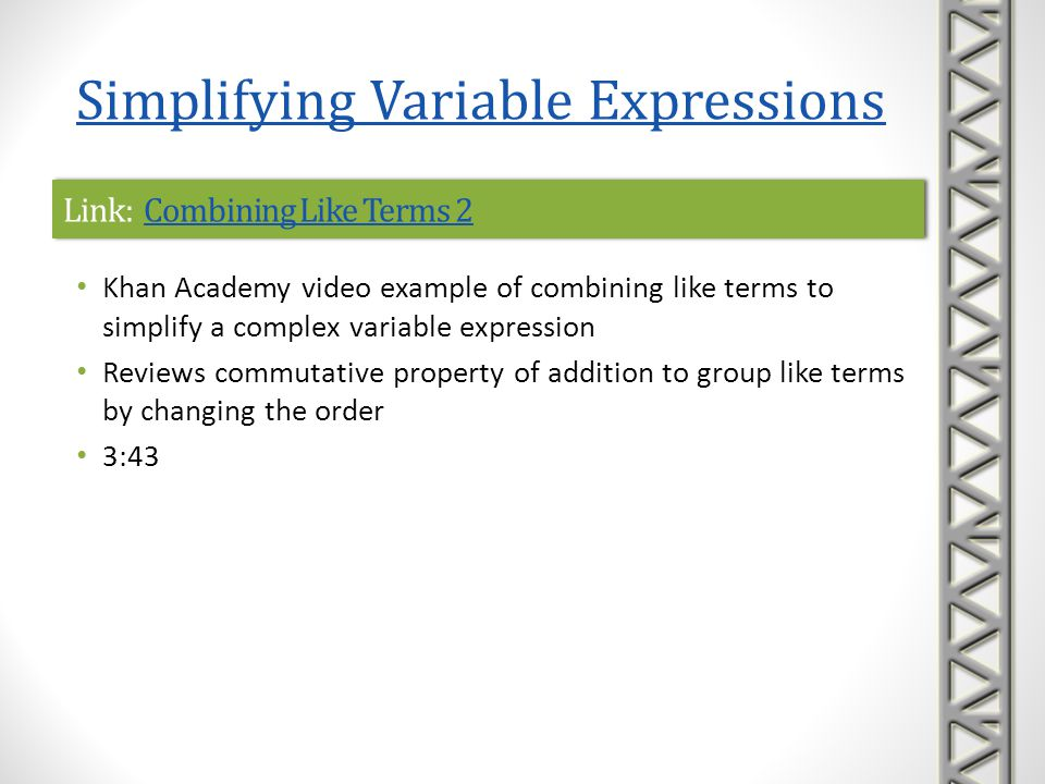 Link: Combining Like Terms 2