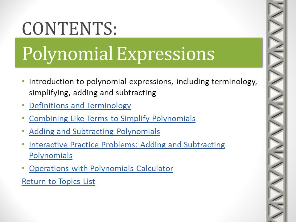 Polynomial Expressions