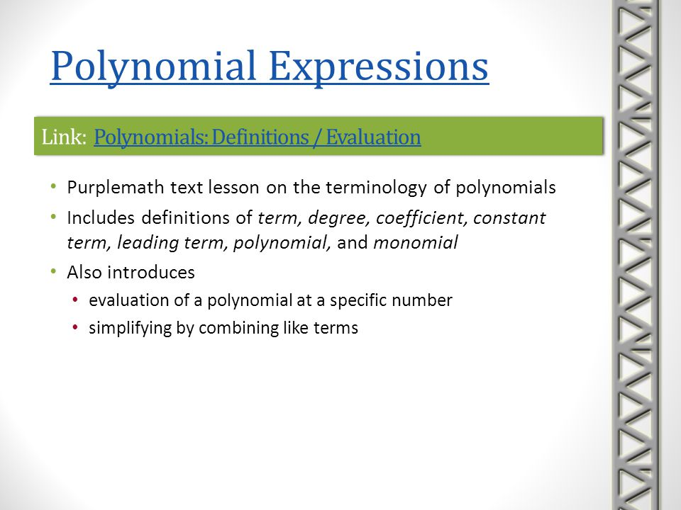 Link: Polynomials: Definitions / Evaluation