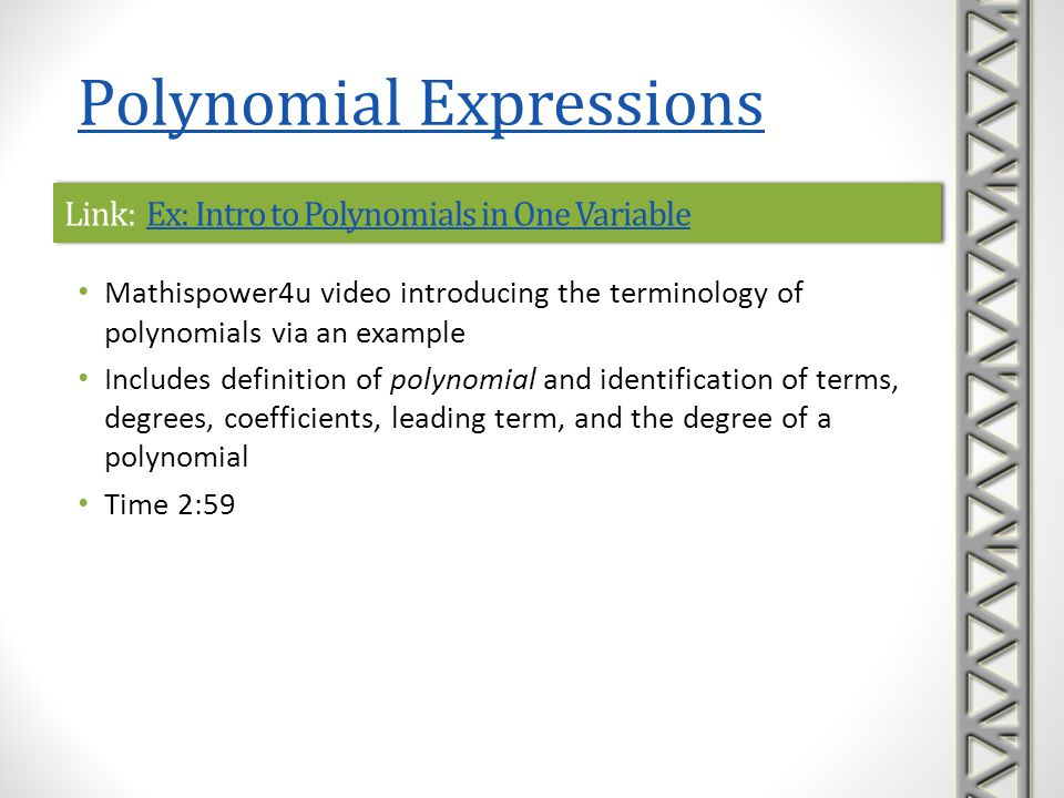 Link: Ex: Intro to Polynomials in One Variable