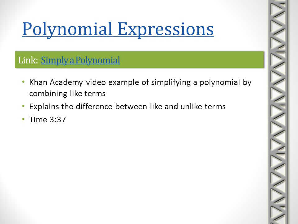 Link: Simply a Polynomial