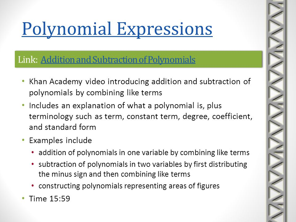 Link: Addition and Subtraction of Polynomials
