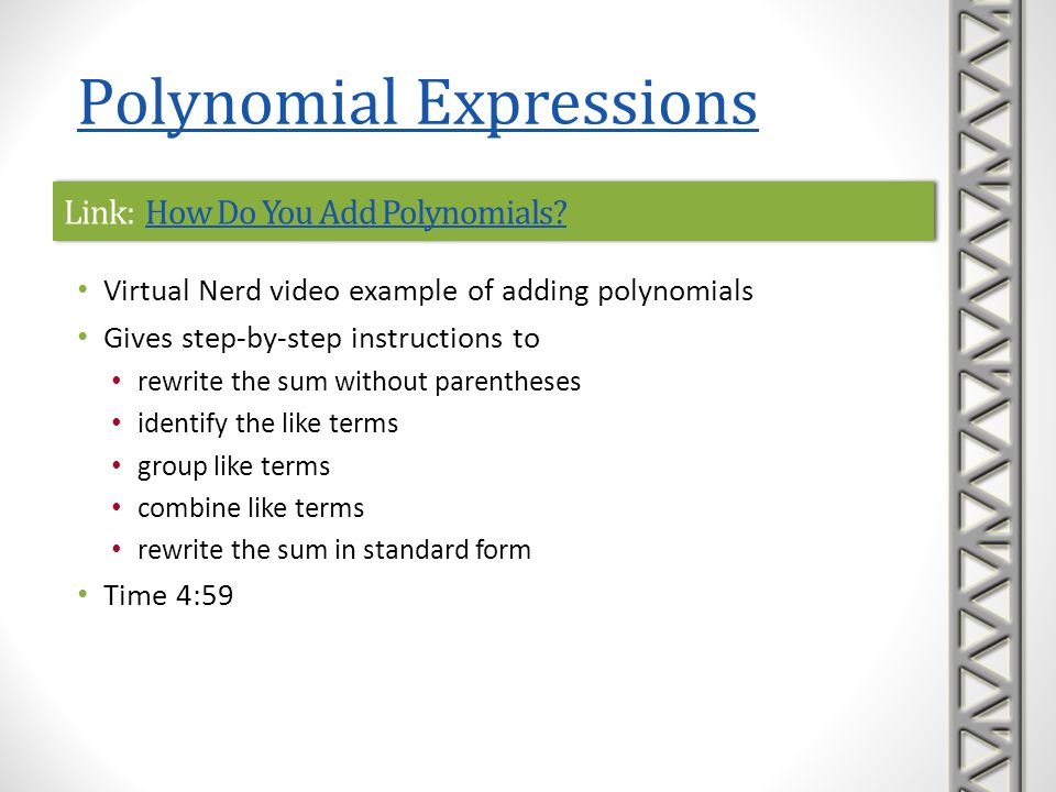 Link: How Do You Add Polynomials