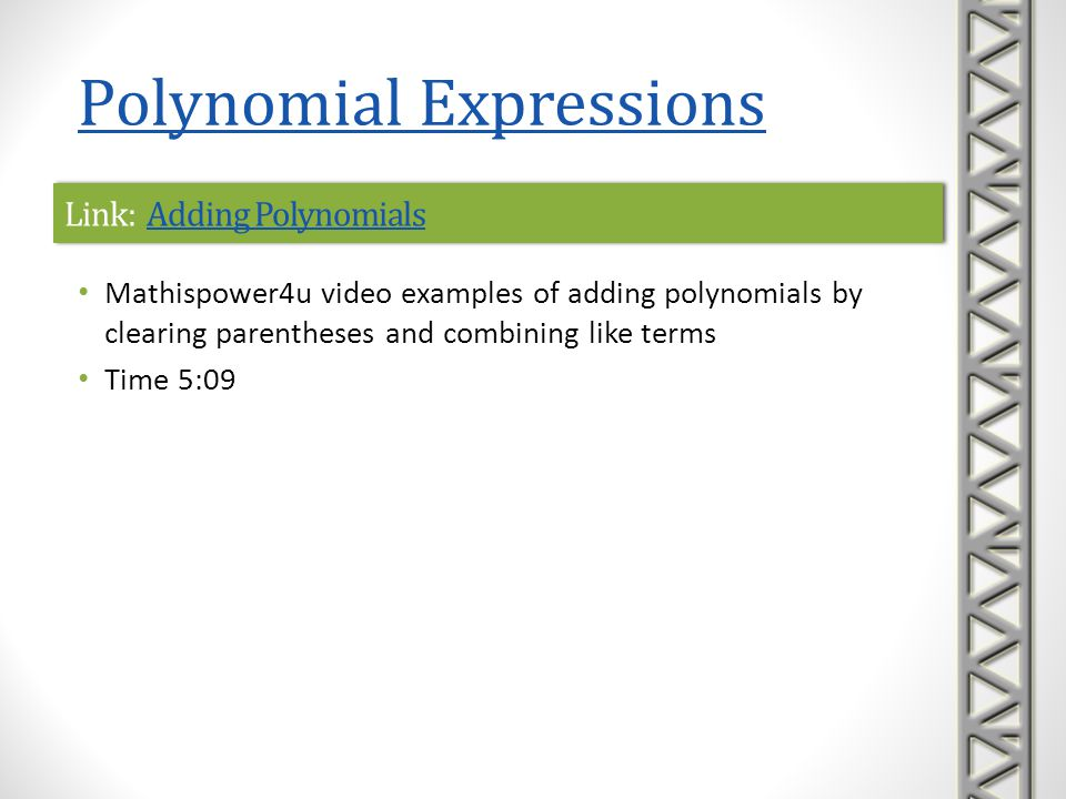 Link: Adding Polynomials