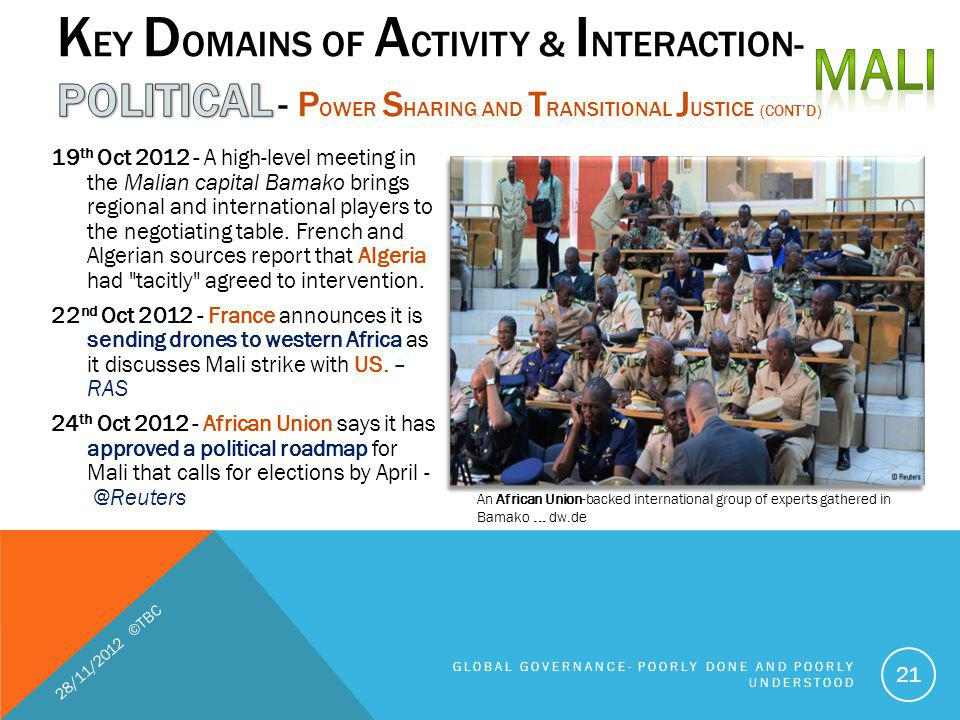 MALI Key Domains of Activity & Interaction- POLITICAL - Power Sharing and Transitional Justice (cont'd)