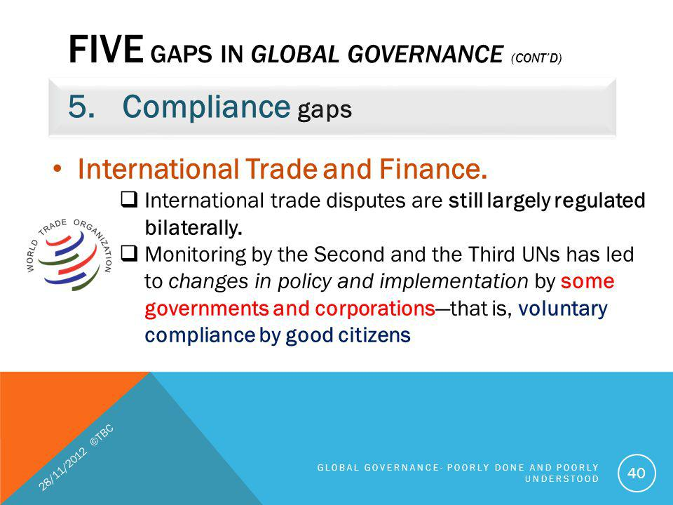 Five gaps in global governance (cont'd)