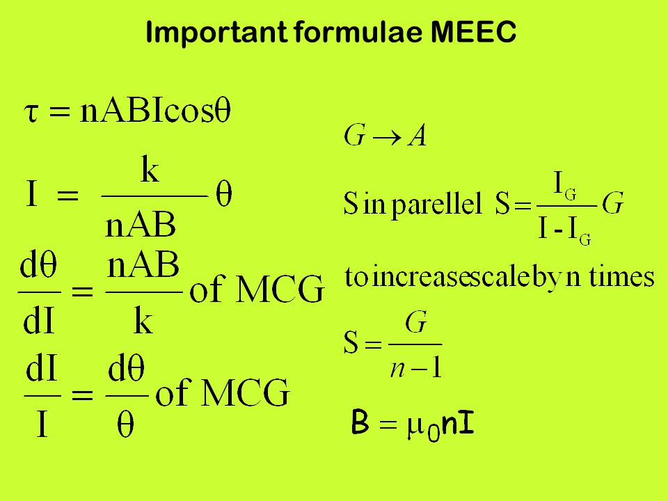 Important formulae MEEC