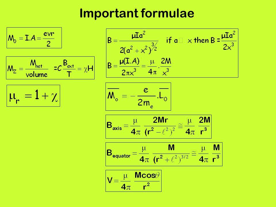 Important formulae