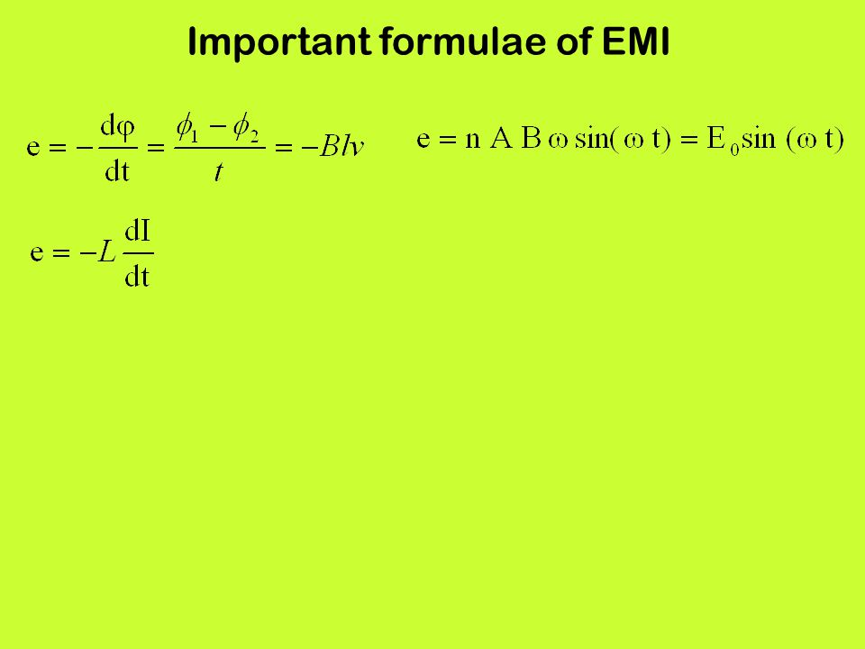 Important formulae of EMI