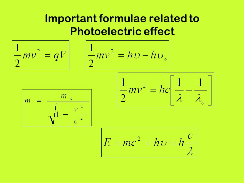 Important formulae related to Photoelectric effect