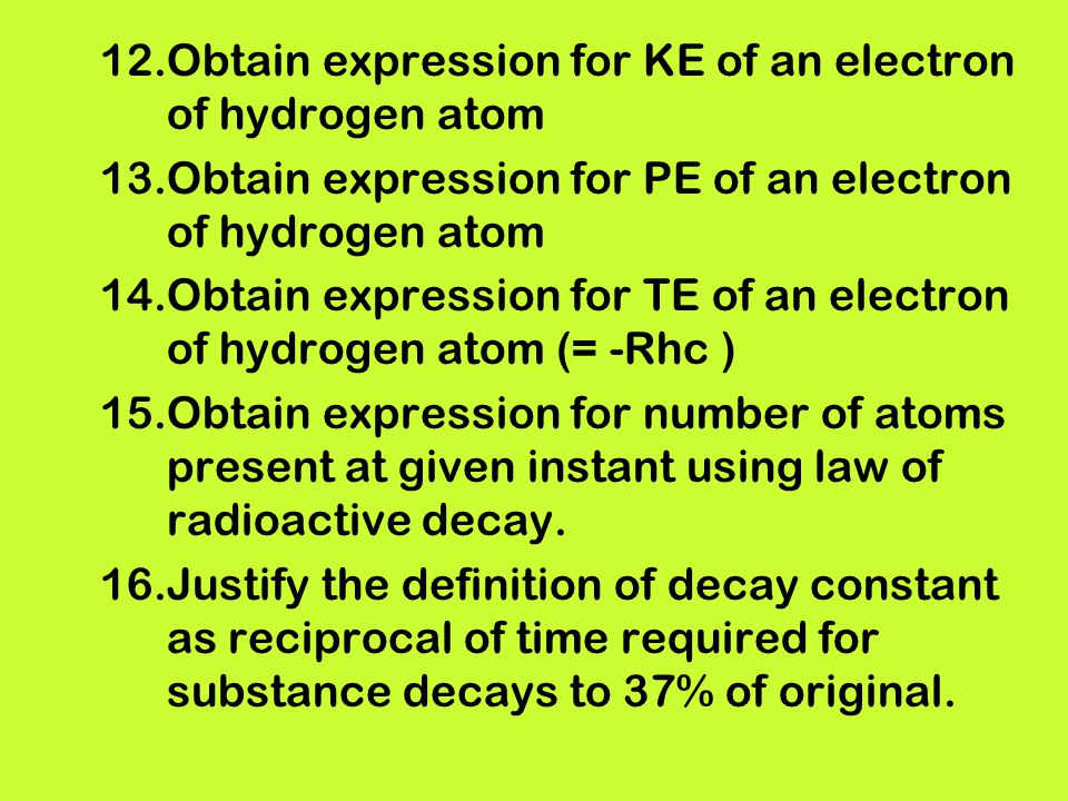 Obtain expression for KE of an electron of hydrogen atom