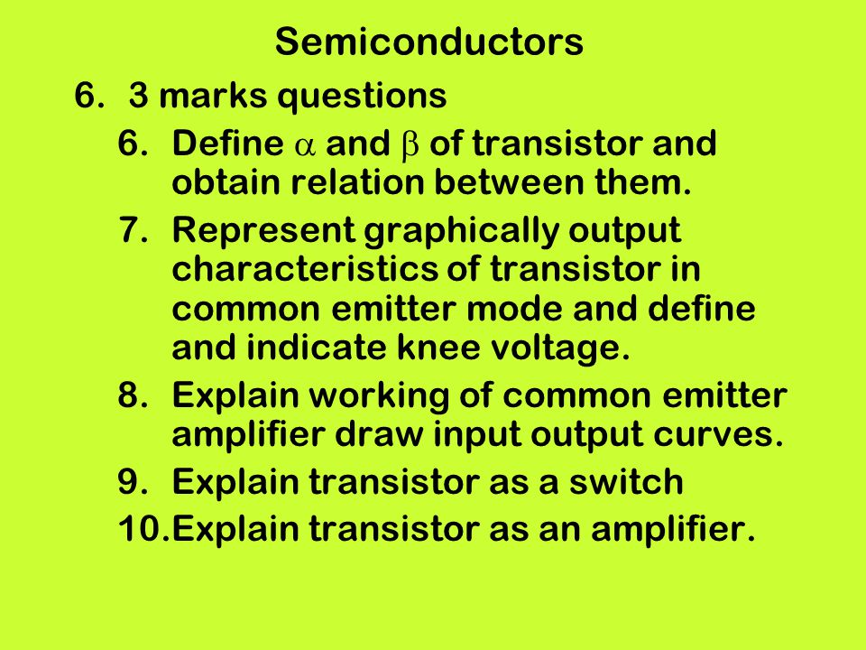 Semiconductors 3 marks questions