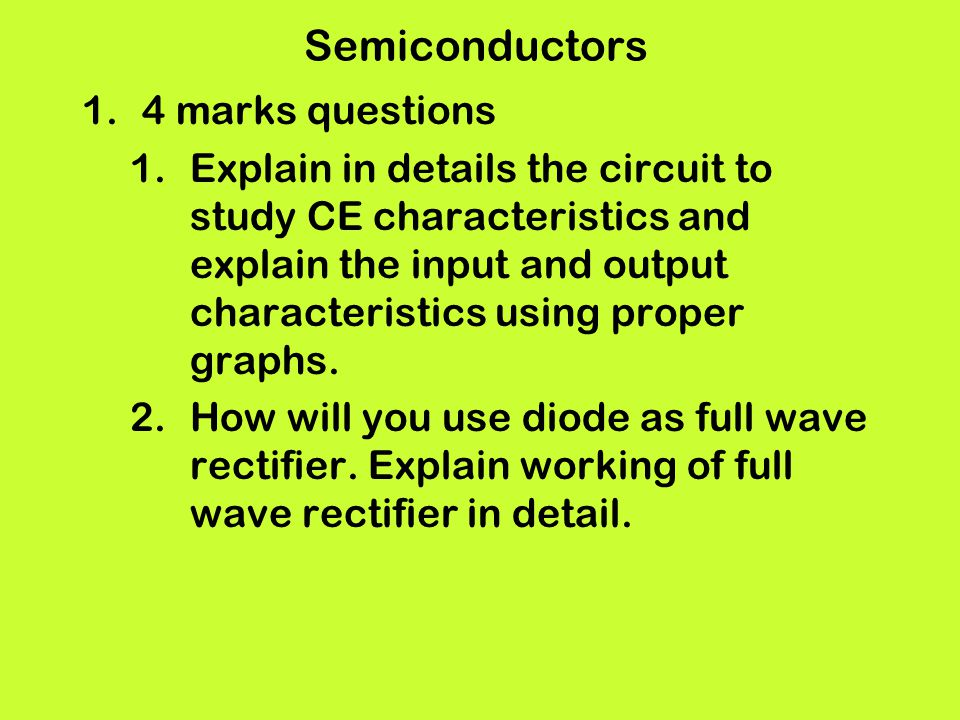 Semiconductors 4 marks questions