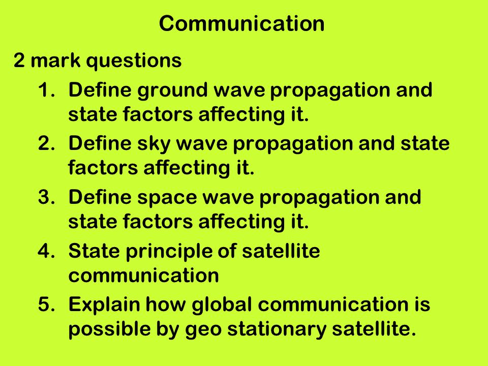 Communication 2 mark questions