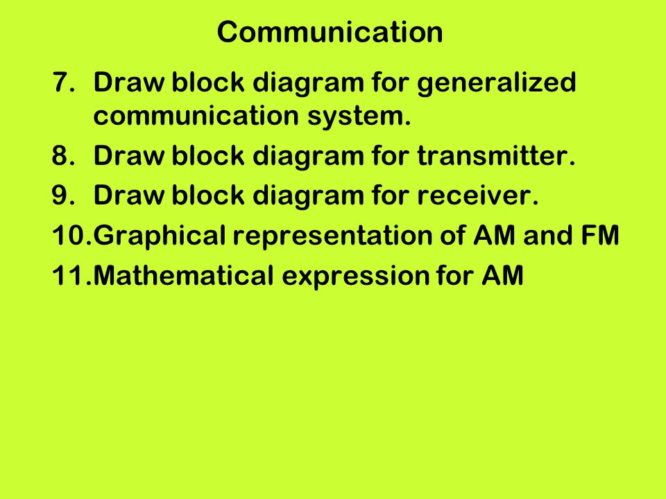 Communication Draw block diagram for generalized communication system.