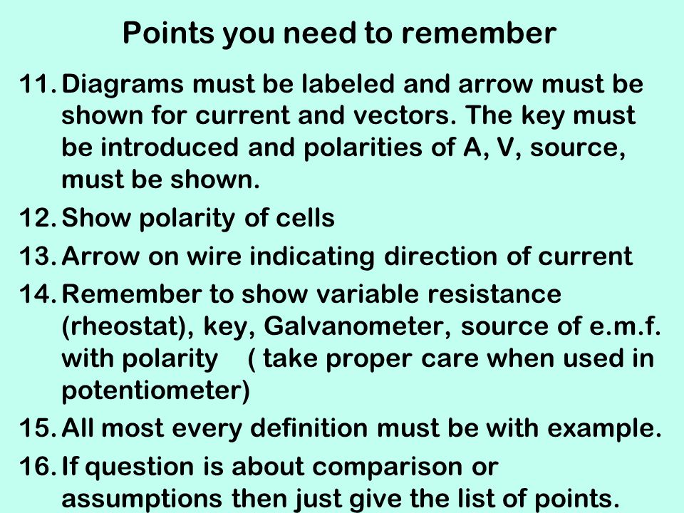 Points you need to remember