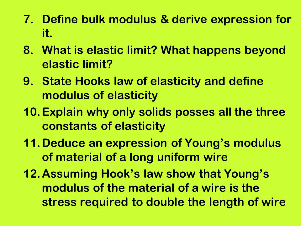 Define bulk modulus & derive expression for it.
