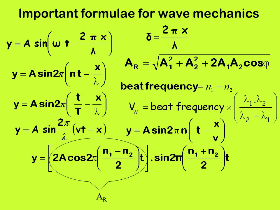 Important formulae for wave mechanics