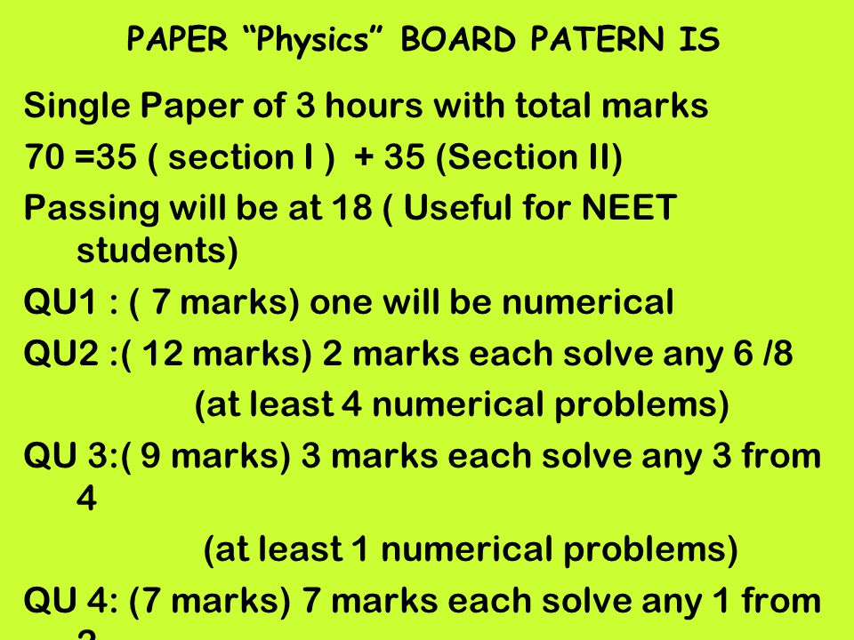 PAPER Physics BOARD PATERN IS