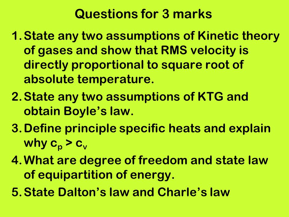 Questions for 3 marks