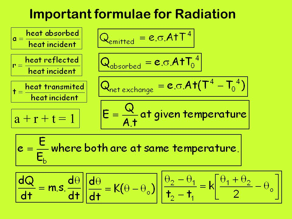 Important formulae for Radiation