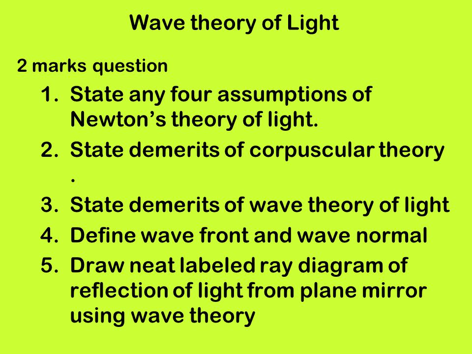 State any four assumptions of Newton's theory of light.