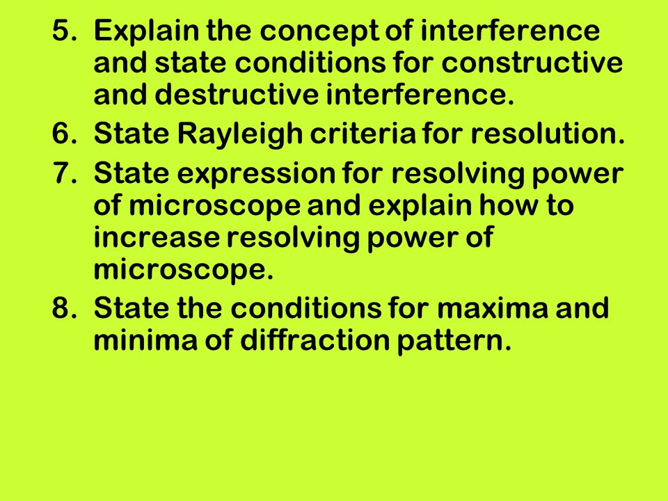 Explain the concept of interference and state conditions for constructive and destructive interference.