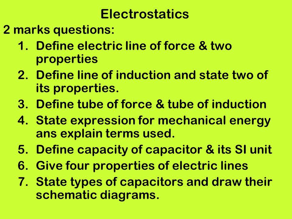 Electrostatics 2 marks questions: