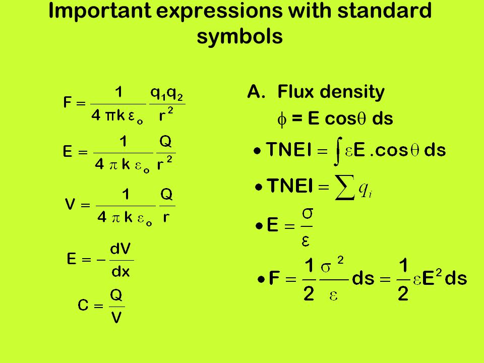 Important expressions with standard symbols