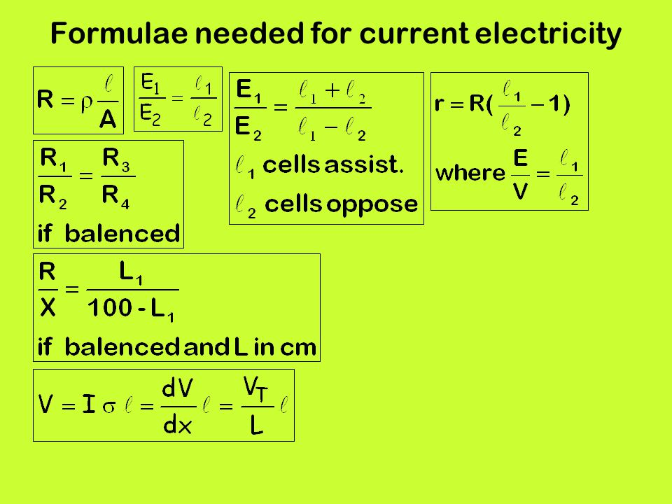Formulae needed for current electricity