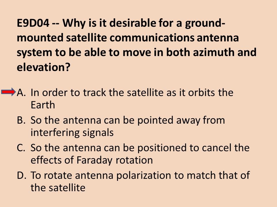 E9D04 -- Why is it desirable for a ground-mounted satellite communications antenna system to be able to move in both azimuth and elevation
