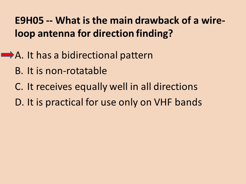 E9H05 -- What is the main drawback of a wire-loop antenna for direction finding