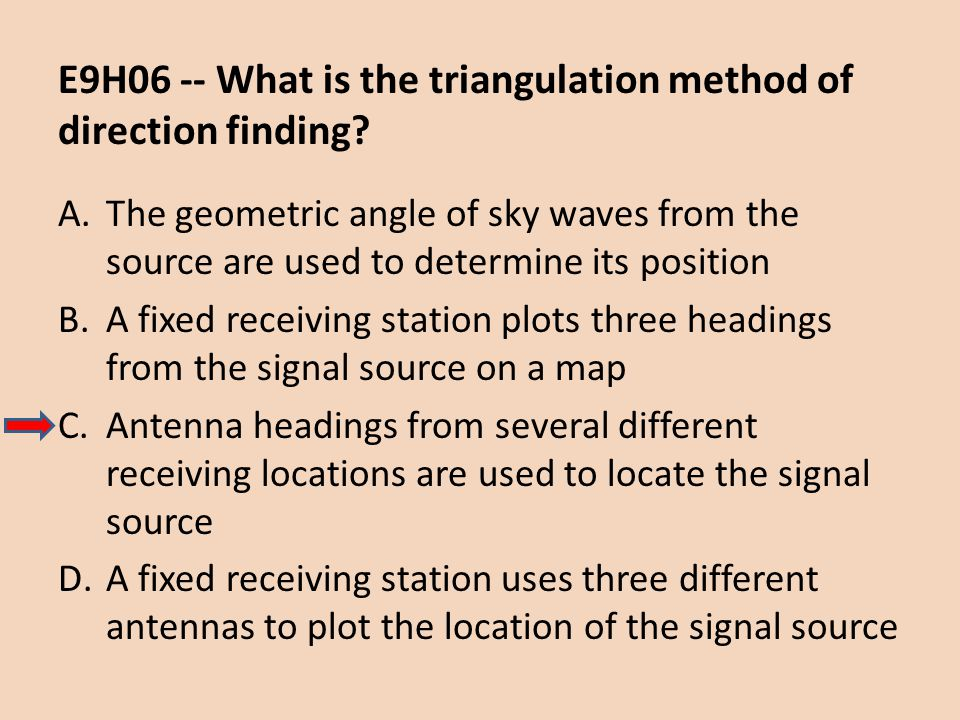 E9H06 -- What is the triangulation method of direction finding
