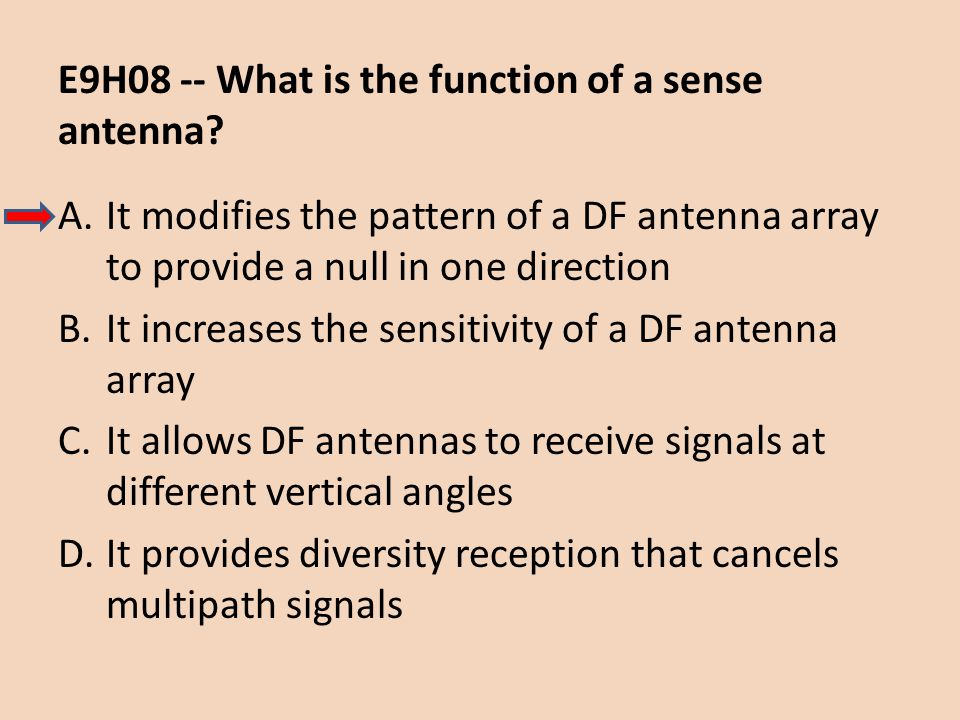 E9H08 -- What is the function of a sense antenna