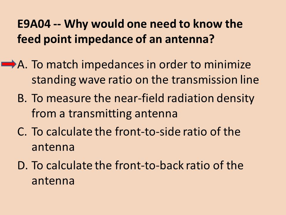 E9A04 -- Why would one need to know the feed point impedance of an antenna
