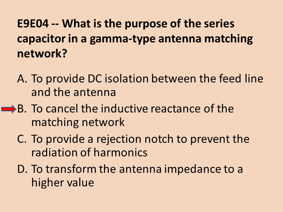 E9E04 -- What is the purpose of the series capacitor in a gamma-type antenna matching network