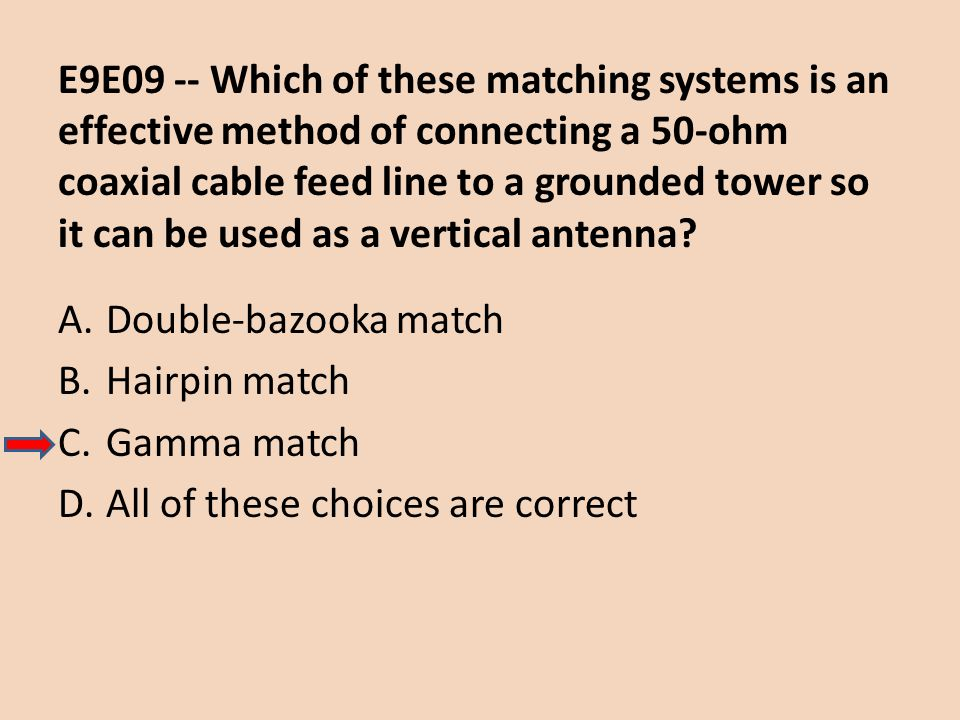 E9E09 -- Which of these matching systems is an effective method of connecting a 50-ohm coaxial cable feed line to a grounded tower so it can be used as a vertical antenna