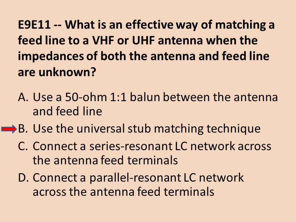 E9E11 -- What is an effective way of matching a feed line to a VHF or UHF antenna when the impedances of both the antenna and feed line are unknown