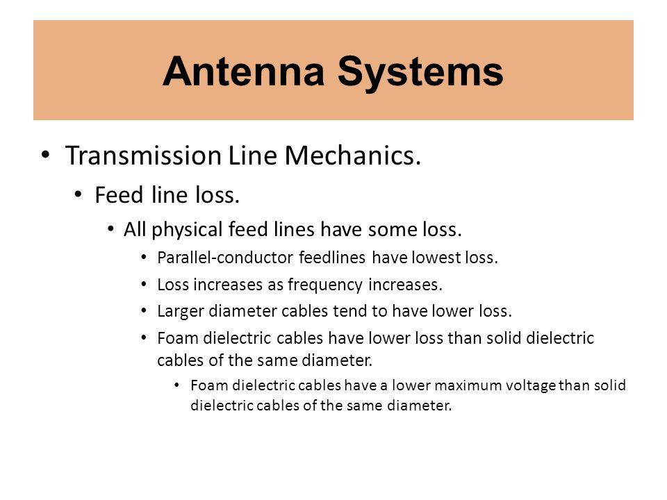 Antenna Systems Transmission Line Mechanics. Feed line loss.