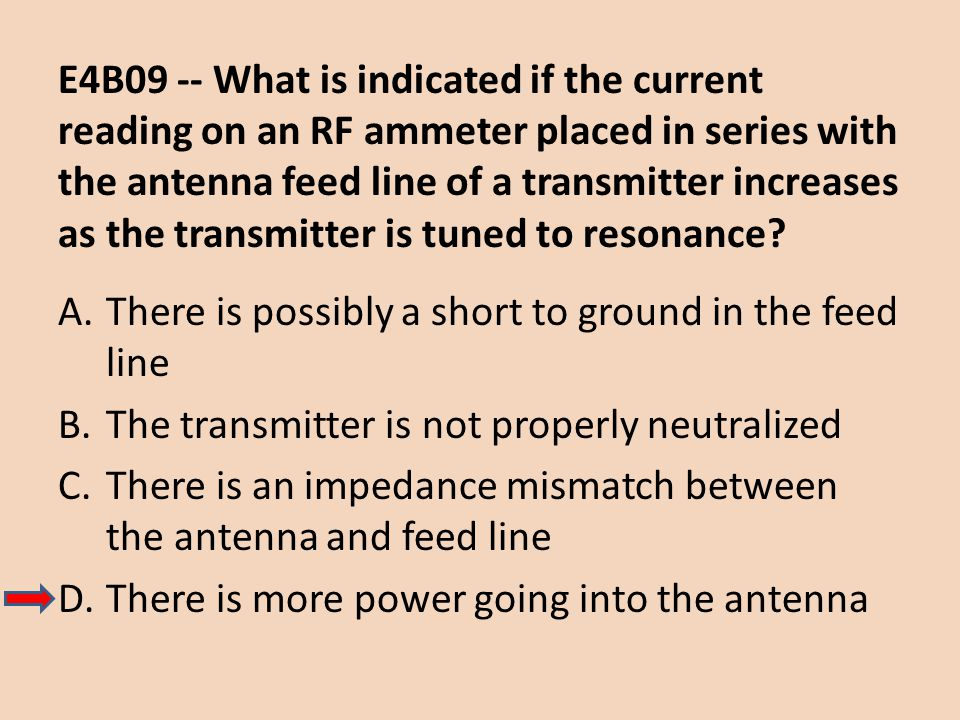 E4B09 -- What is indicated if the current reading on an RF ammeter placed in series with the antenna feed line of a transmitter increases as the transmitter is tuned to resonance