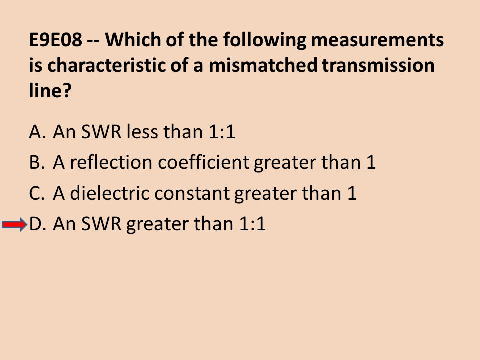 E9E08 -- Which of the following measurements is characteristic of a mismatched transmission line