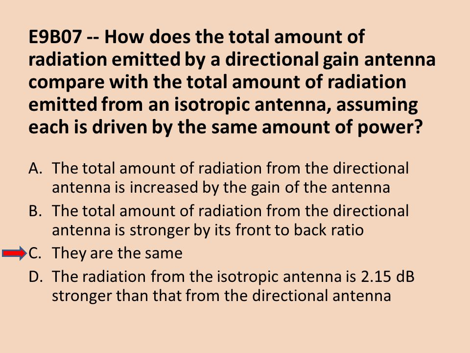 E9B07 -- How does the total amount of radiation emitted by a directional gain antenna compare with the total amount of radiation emitted from an isotropic antenna, assuming each is driven by the same amount of power