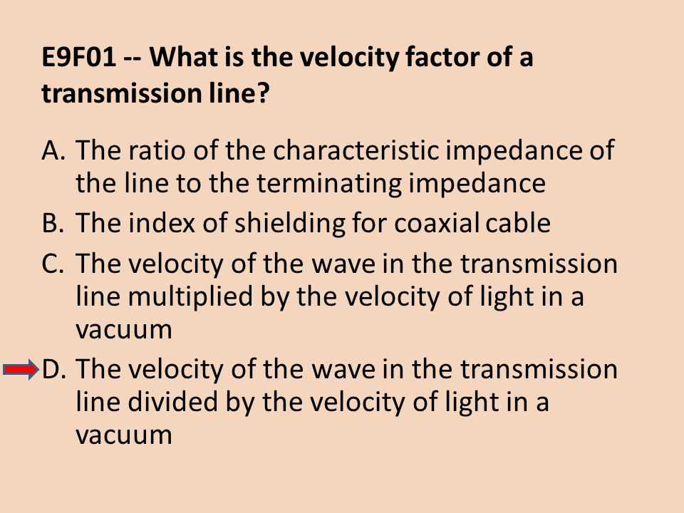 E9F01 -- What is the velocity factor of a transmission line