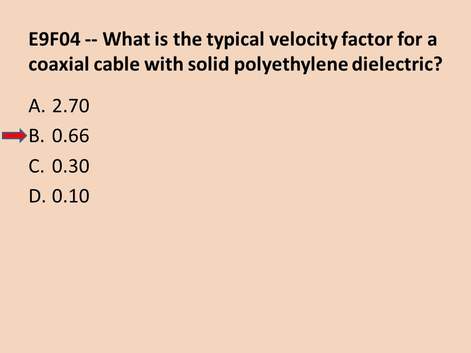 E9F04 -- What is the typical velocity factor for a coaxial cable with solid polyethylene dielectric