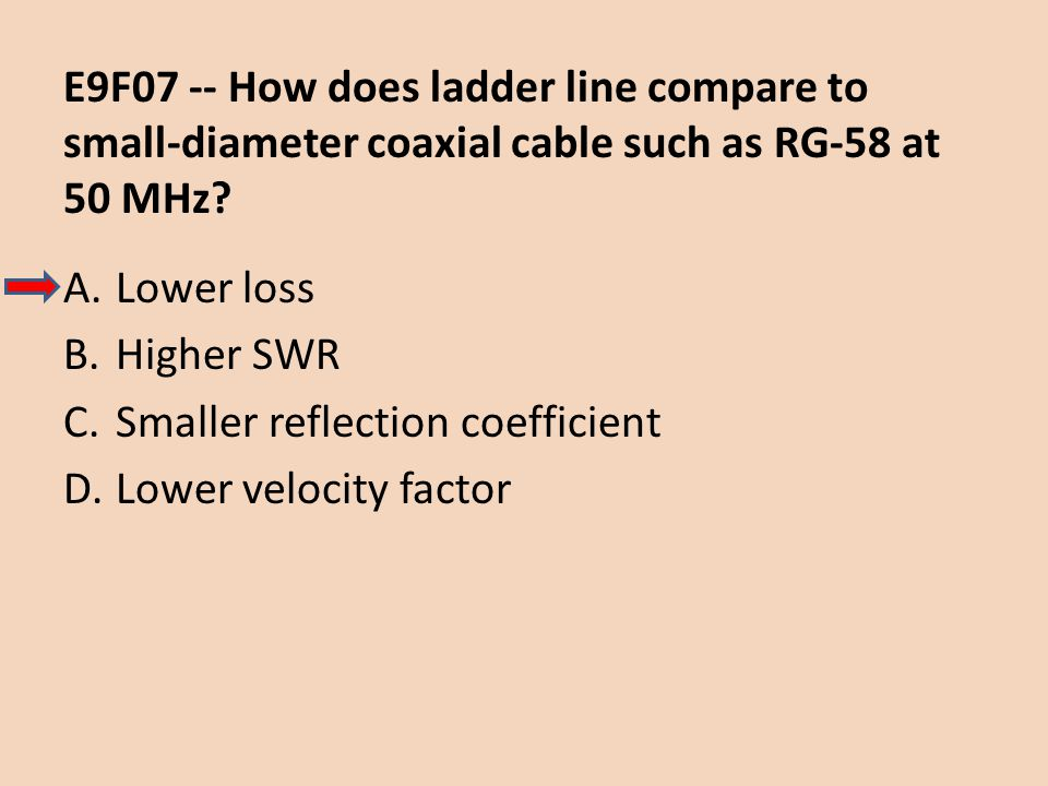E9F07 -- How does ladder line compare to small-diameter coaxial cable such as RG-58 at 50 MHz