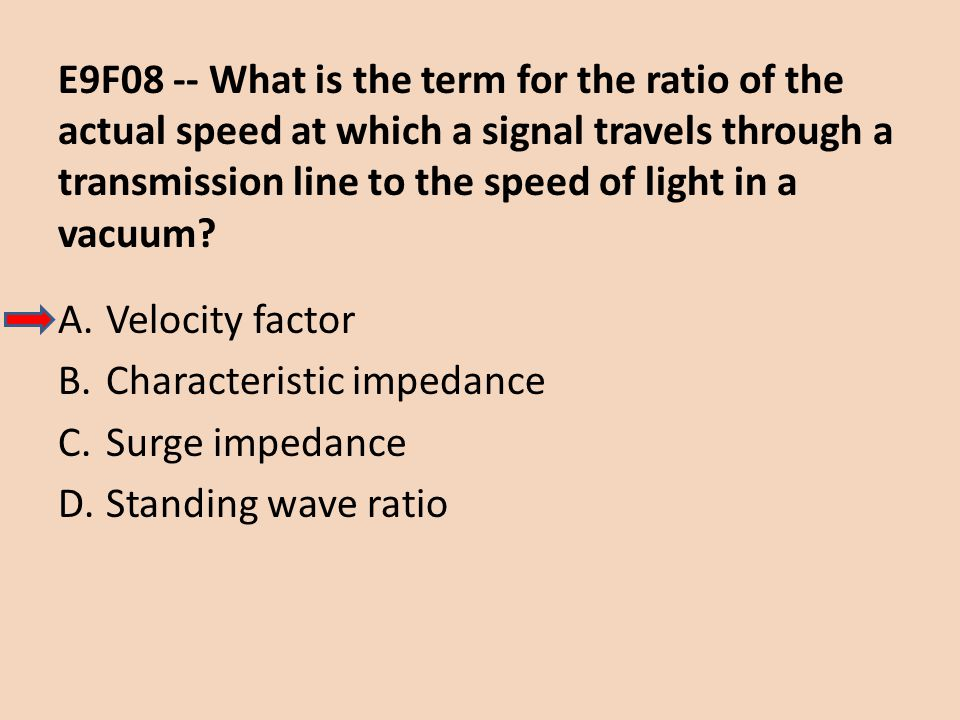 E9F08 -- What is the term for the ratio of the actual speed at which a signal travels through a transmission line to the speed of light in a vacuum