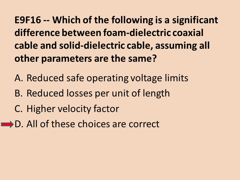 E9F16 -- Which of the following is a significant difference between foam-dielectric coaxial cable and solid-dielectric cable, assuming all other parameters are the same