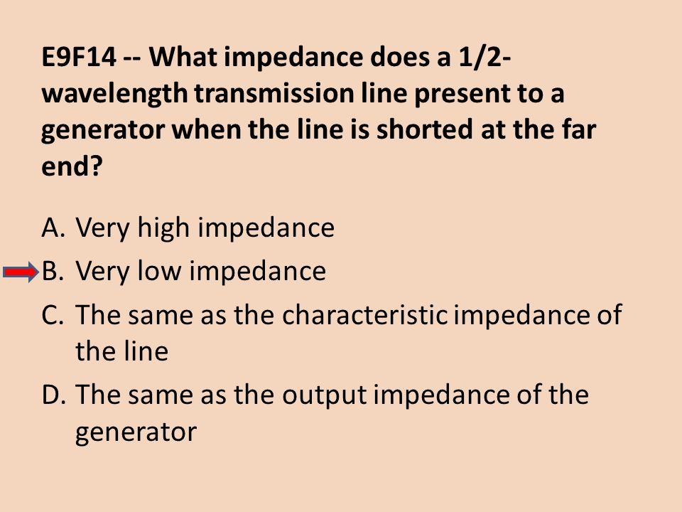 E9F14 -- What impedance does a 1/2-wavelength transmission line present to a generator when the line is shorted at the far end