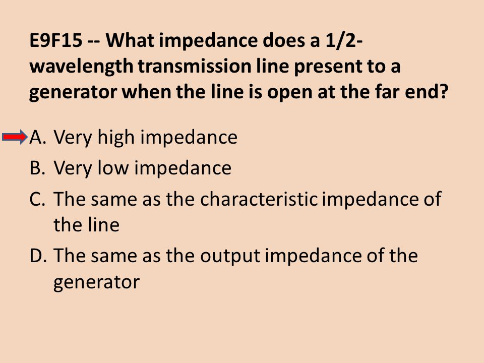 E9F15 -- What impedance does a 1/2-wavelength transmission line present to a generator when the line is open at the far end